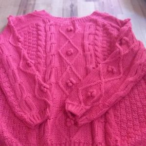 Simply Couture bright red cable knit sweater